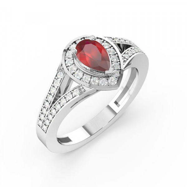 Prong Setting Pear Shape 2 Raw Shoulder Halo Ruby Engagement Rings