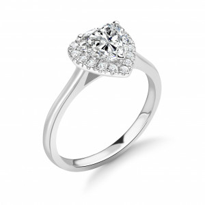 Prong Setting Heart Shape Plain Shoulder Halo Diamond Engagement Rings