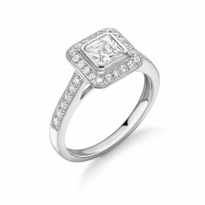 Bezel Setting Asshcer Shape Pave Setting Milligraing Halo Diamond Engagement Rings