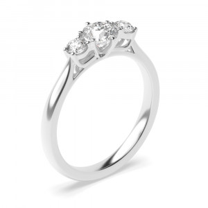 Unique Round Cut Diamond Trilogy Engagement Rings for Women