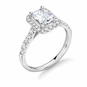 Prong Setting Radiant Shape Minimal Halo Diamond Engagement Rings