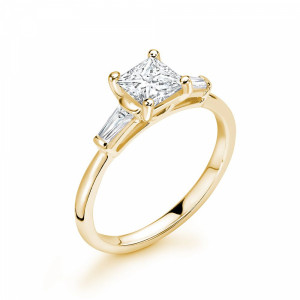 Princess/Baguette 1.25 SI D-E ABELINI 18K Yellow Gold Princess & Tappered Baguette Diamond Trilogy Engagement Rings