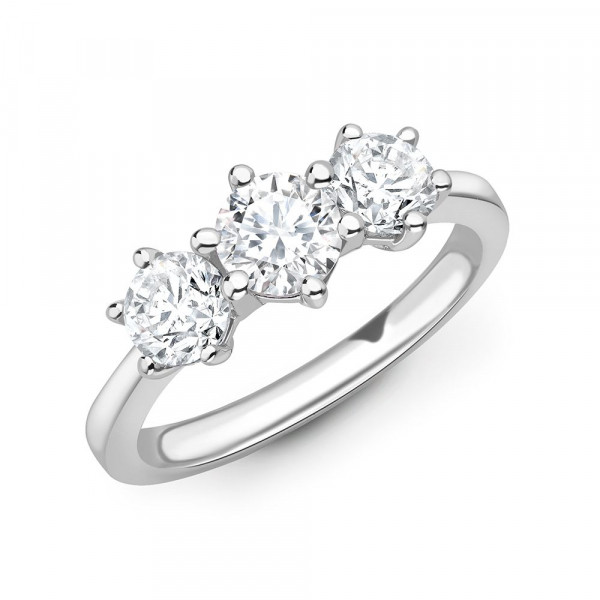 Six Prong Round Diamond Trilogy Engagement Rings in Gold and Platinum