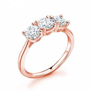 Round 1.25 VS H-I ABELINI 9K Rose Gold 4 Prong Delicate Round Cut Diamond Trilogy Engagement Rings
