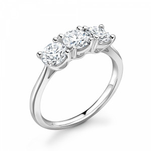 Round 1.00 VVS H-I ABELINI 950 Platinum 4 Prong Delicate Round Cut Diamond Trilogy Engagement Rings