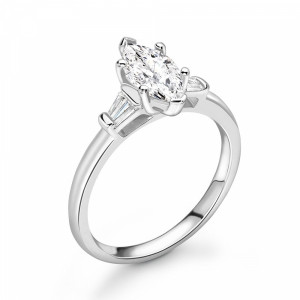 Marquise and Baguette Diamond Trilogy Engagement Rings