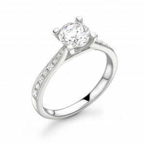 Tappering Down Shoulder Open Setting Side Stone Diamond Engagement Rings