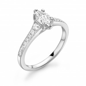 Marquise 0.70 VVS1 F ABELINI 950 Platinum Tapering Up Shoulder Marquise Shape Engagement Ring in Gold and Platinum
