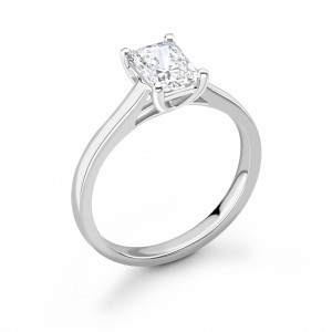 Cross Over Claws Radiant Shape Solitaire Diamond Engagement Rings
