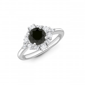 Sparkling Cluster Style Halo Engagement Ring with Black Diamond