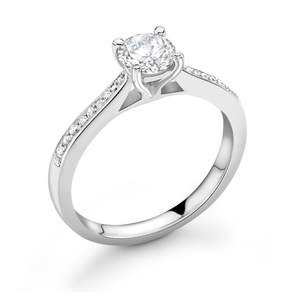 Tapering Shoulders High Setting Side Stone Diamond Engagement Rings