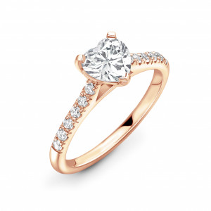 Heart Shape Shoulder Set Diamond Engagement Ring in Gold and Platinum