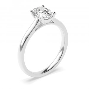 Cross Over Claws Oval Cut Solitaire Diamond Engagement Rings