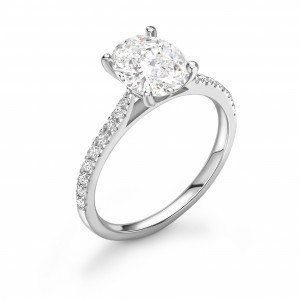 Oval 1.00 SI2 H ABELINI 950 Platinum Crown Style Setting Pear Shape Side Stone Engagement Ring