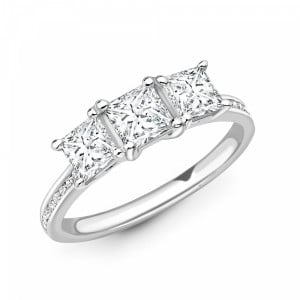 Princess 1.25 VS D-E ABELINI 9K White Gold Princess Cut Diamond Trilogy Engagement Rings with Diamond on Shoulder