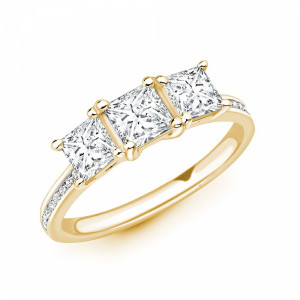 Princess 1.25 VS D-E ABELINI 9K Yellow Gold Princess Cut Diamond Trilogy Engagement Rings with Diamond on Shoulder
