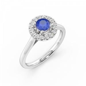 Prong Setting Blue Sapphire Halo Engagement Ring