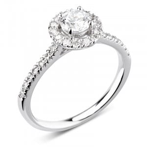 Round 0.30 VS2 F ABELINI 9K White Gold 4 Prong Set Round Diamond Halo Engagement Ring With Side Stones