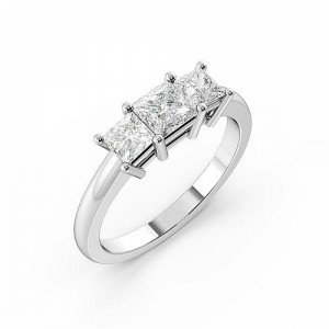 Princess 1.50 I1 H-I ABELINI 18K Rose Gold 4 Claws Setting Princess Trilogy Diamond Ring in White gold