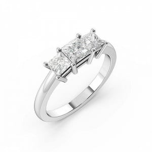 Princess 1.50 I1 H-I ABELINI 18K Yellow Gold 4 Claws Setting Princess Trilogy Diamond Ring in White gold