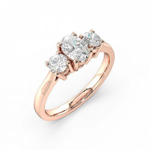 Oval 0.80 I1 F-G ABELINI 18K Rose Gold Oval Trilogy Diamond Ring 4 Prong Setting in Yellow / White Gold
