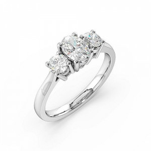 Oval Trilogy Diamond Ring 4 Prong Setting in Yellow / White Gold