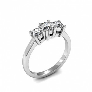 Round 0.75 VVS F-G ABELINI 950 Platinum 4 Prong Set Round Trilogy Diamond Ring in Platinum