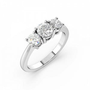 Round 0.75 VVS F-G ABELINI 950 Platinum 4 Prong Set Round Trilogy Diamond Ring in White gold / Platinum