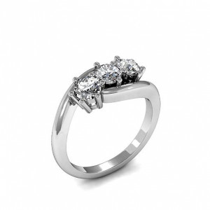 Round 2.25 SI D-E ABELINI 950 Platinum Round Trilogy Diamond Rings 6 Prong Setting in Yellow Gold