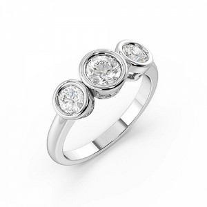 Round 1.00 SI D-E ABELINI 950 Platinum Round Trilogy Diamond Rings Full Bezel Setting in White gold / Platinum