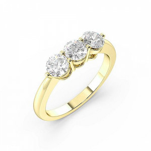 Round 1.50 SI F-G ABELINI 18K Yellow Gold Round Trilogy Diamond Rings Prong Setting in Yellow Gold