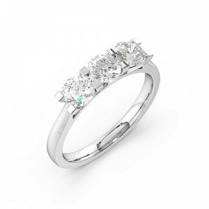 Round 1.50 VVS F-G ABELINI 950 Platinum 4 Claws Set Round Trilogy Diamond Ring in White Gold / Platinum