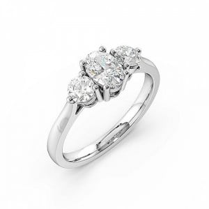 Oval 0.50 VS D-E ABELINI 950 Platinum 4 Prong Setting Oval Trilogy Diamond Rings in White gold / Platinum