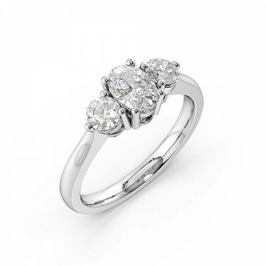 Oval 0.65 I1 H-I ABELINI 950 Platinum 4 Prong Setting Oval Trilogy Diamond Rings in Yellow Gold