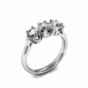 Round 1.00 VVS H-I ABELINI 950 Platinum Round Trilogy Diamond Rings 6 Prong Setting in White gold / Platinum