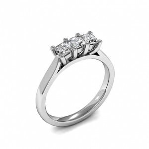 4 Prong Setting Princess Trilogy Diamond Rings in Platinum