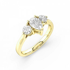 Pear 1.00 I1 F-G ABELINI 18K Yellow Gold 3 Prong Setting Pear Trilogy Diamond Ring in Rose / Yellow / White Gold