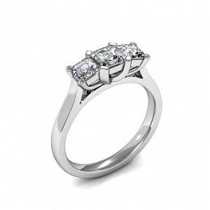4 Prong Setting Asscher Trilogy Diamond Rings in White gold / Platinum