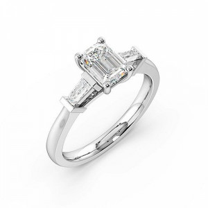 Emerald Trilogy Diamond Rings 4 Prong Setting in Platinum