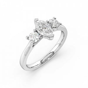 2 Prong Setting Marquise Trilogy Diamond Ring in White gold