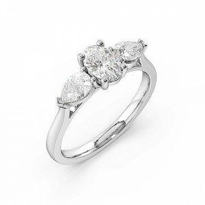Oval Trilogy Diamond Rings 4 Prong Setting in White gold