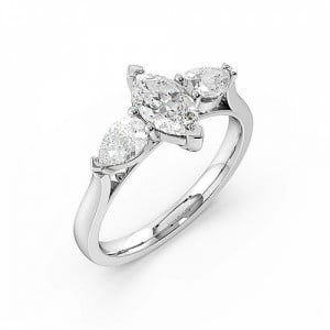 Marquise Trilogy Diamond Rings 6 Prong Setting in White gold