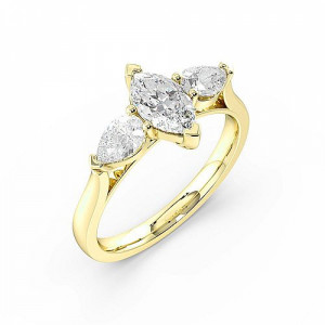 Marquise 1.10 VVS F-G ABELINI 18K Yellow Gold Marquise Trilogy Diamond Rings 6 Prong Setting in White gold
