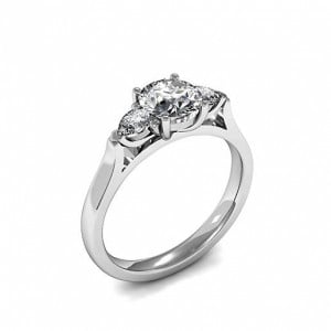 Trilogy Round Diamond Rings 4 Prong Set in White gold