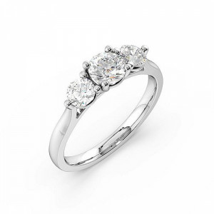 Trilogy Round Diamond Rings 4 Prong Setting in Platinum