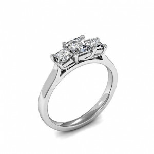 Trilogy Asscher Diamond Rings 4 Prong Setting in Rose gold