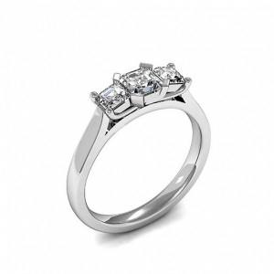 Trilogy Asscher Diamond Rings 4 Prong Setting in White gold / Platinum