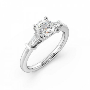 Trilogy Round Diamond Rings 4 Prong Setting in White gold