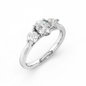 Trilogy Oval Diamond Rings 4 Prong Setting in Rose / White Gold
