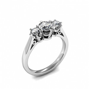 Round Trilogy Diamond Rings 6 Prong Setting in Platinum